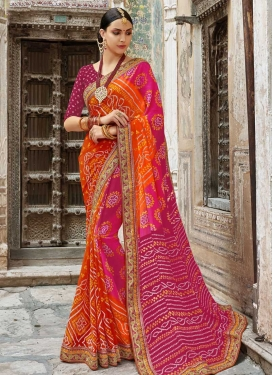 Fuchsia and Orange Trendy Classic Saree