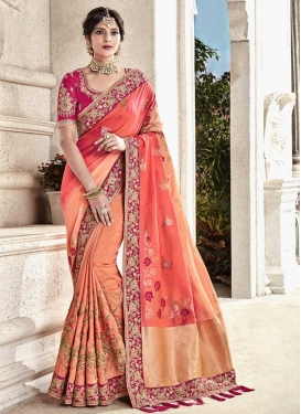 Fuchsia and Peach Beads Work Classic Saree