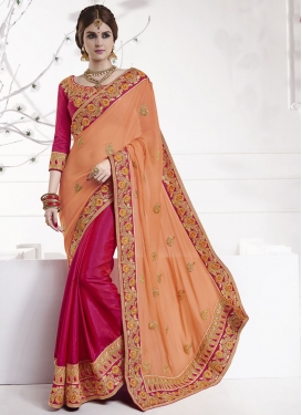 Fuchsia and Peach Designer Half N Half Saree For Festival