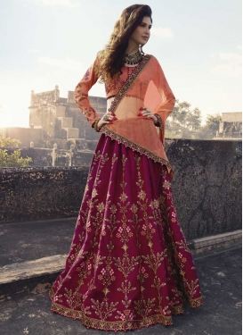 Fuchsia and Peach Satin Silk Trendy A Line Lehenga Choli