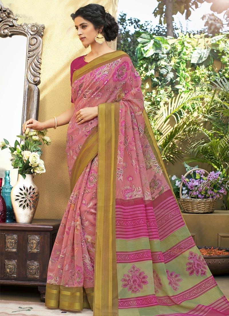 Fuchsia and Pink Print Work Contemporary Saree