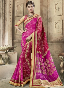 Fuchsia and Red Bandhej Print Work Traditional Saree