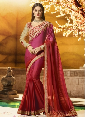 Fuchsia and Red Embroidered Work Classic Saree