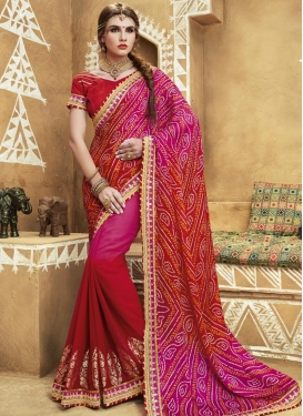 Fuchsia and Red Faux Georgette Contemporary Style Saree For Ceremonial