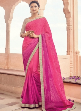 Fuchsia and Rose Pink Faux Chiffon Trendy Classic Saree For Ceremonial