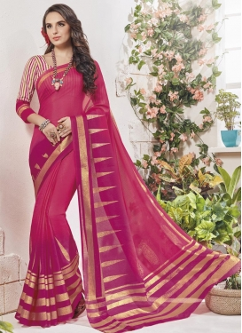 Fuchsia and Rose Pink Traditional Saree For Casual