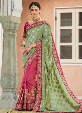 Fuchsia and Sea Green Beads Work Half N Half Designer Saree