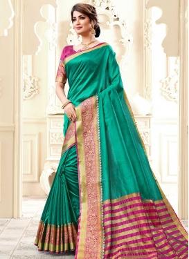 Fuchsia and Sea Green Cotton Silk Designer Contemporary Saree