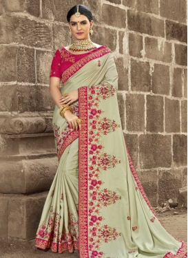 Fuchsia and Sea Green Trendy Saree