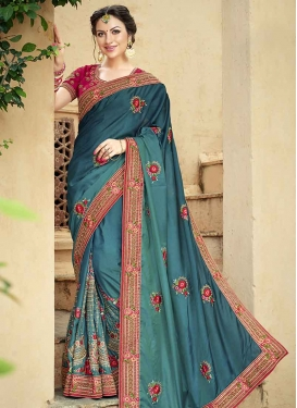 Fuchsia and Teal Contemporary Style Saree For Festival