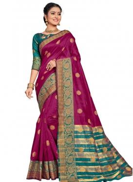 Fuchsia and Teal Thread Work Traditional Designer Saree