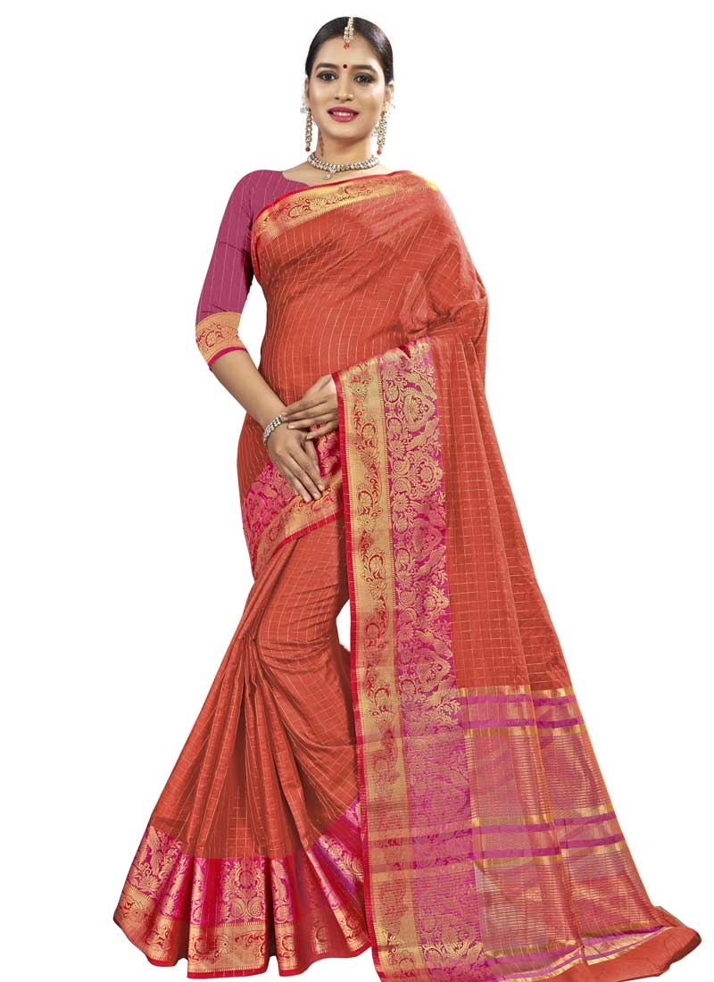 Fuchsia and Tomato Traditional Designer Saree
