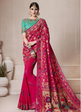 Fuchsia and Turquoise Embroidered Work Classic Saree