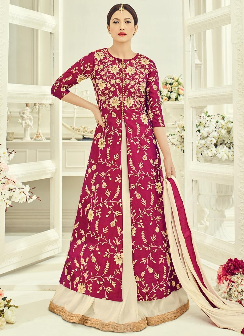 Gauhar Khan Art Silk Beige and Crimson Embroidered Work Designer Salwar Kameez