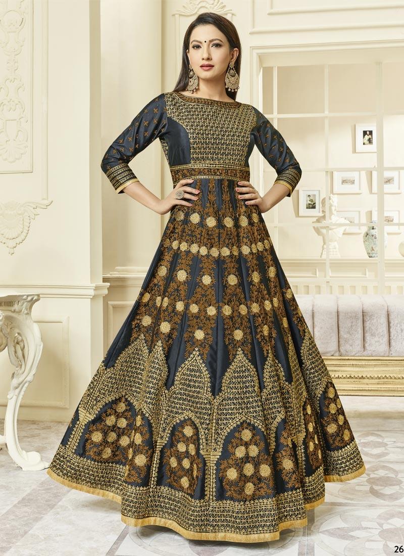 Gauhar Khan Art Silk Booti Work Long Length Designer Suit