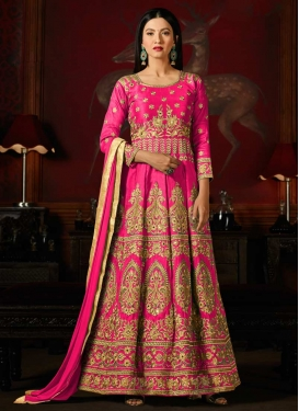 Gauhar Khan Art Silk Long Length Anarkali Salwar Suit