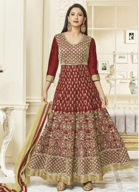 Gauhar Khan Art Silk Long Length Anarkali Suit