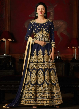 Gauhar Khan Art Silk Trendy Anarkali Salwar Kameez For Festival