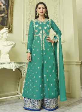 Gauhar Khan Banglori Silk Blue and Sea Green Designer Palazzo Salwar Kameez