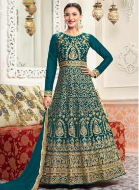Gauhar Khan Booti Work Floor Length Anarkali Salwar Suit
