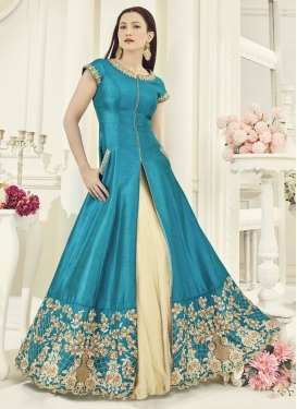 Gauhar Khan Cream and Light Blue Embroidered Work Designer Kameez Style Lehenga