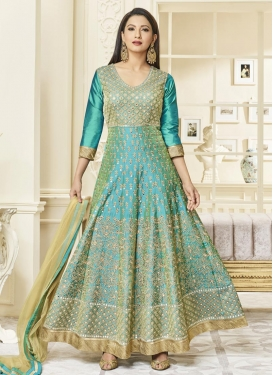 Gauhar Khan Embroidered Work Art Silk Long Length Anarkali Salwar Suit