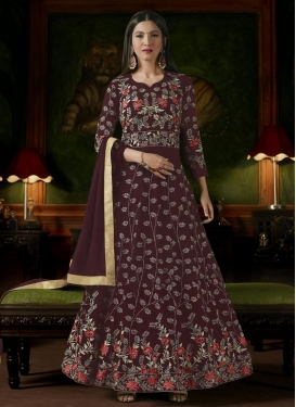 Gauhar Khan Embroidered Work Floor Length Anarkali Salwar Suit