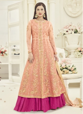 Gauhar Khan Embroidered Work Fuchsia and Peach Kameez Style Lehenga