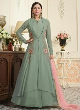 Gauhar Khan Faux Georgette Aari Work Trendy Designer Salwar Kameez
