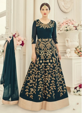 Gauhar Khan Faux Georgette Embroidered Work Long Length Anarkali Suit