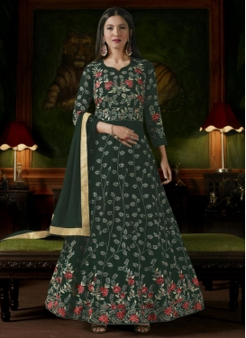 Gauhar Khan Faux Georgette Embroidered Work Trendy Anarkali Salwar Kameez