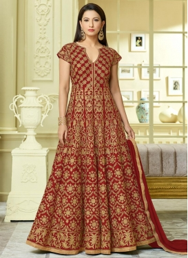 Gauhar Khan Long Length Anarkali Salwar Suit For Festival