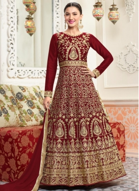 Gauhar Khan Silk Anarkali Salwar Kameez For Party
