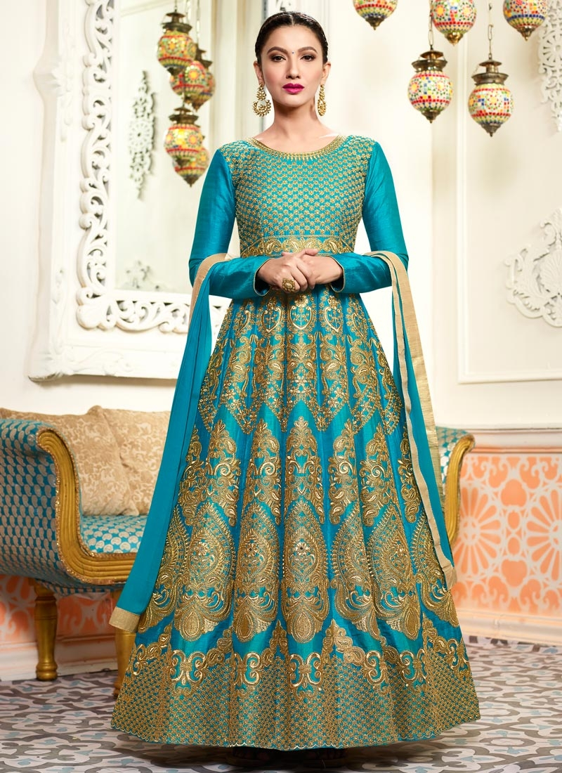 Gauhar Khan Silk Anarkali Salwar Suit