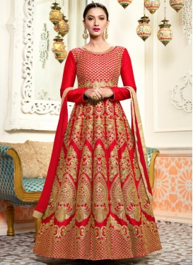 Gauhar Khan Silk Long Length Anarkali Salwar Suit