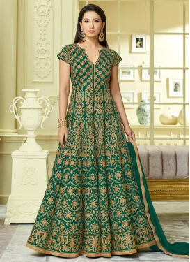 Gauhar Khan Tafeta Silk Floor Length Anarkali Salwar Suit