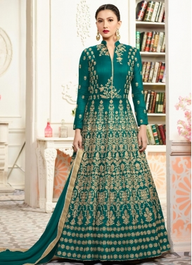 Gauhar Khan Tafeta Silk Long Length Designer Anarkali Suit