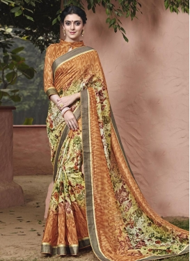 Genius Art Silk Brown and Mint Green Trendy Classic Saree For Ceremonial