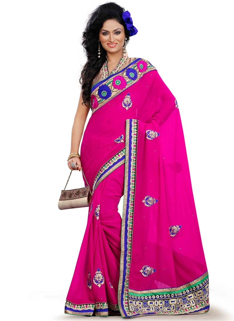 Genius Booti Work Faux Georgette Party Wear Saree