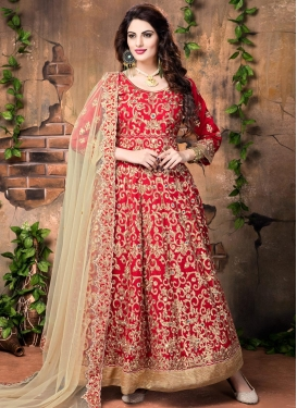 Genius Embroidered Work Floor Length Anarkali Suit