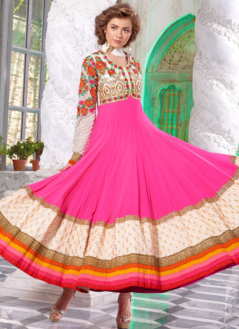 Genius Floral And Lace Work Flaring Style Anarkali Suit