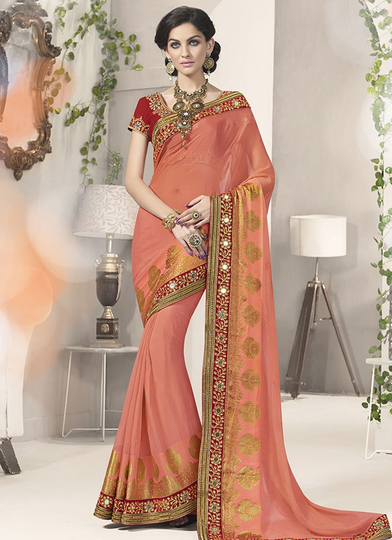 Genius Mirror And Stone Work Party Wear Saree