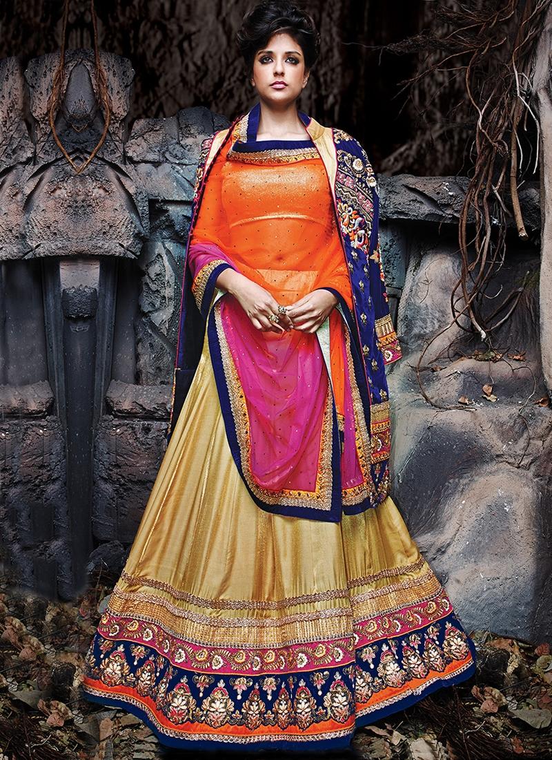 Genius Multi And Resham Work Jacket Style Designer Lehenga Choli