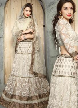 Genius Patch Border Work Off White Color Designer Lehenga Choli