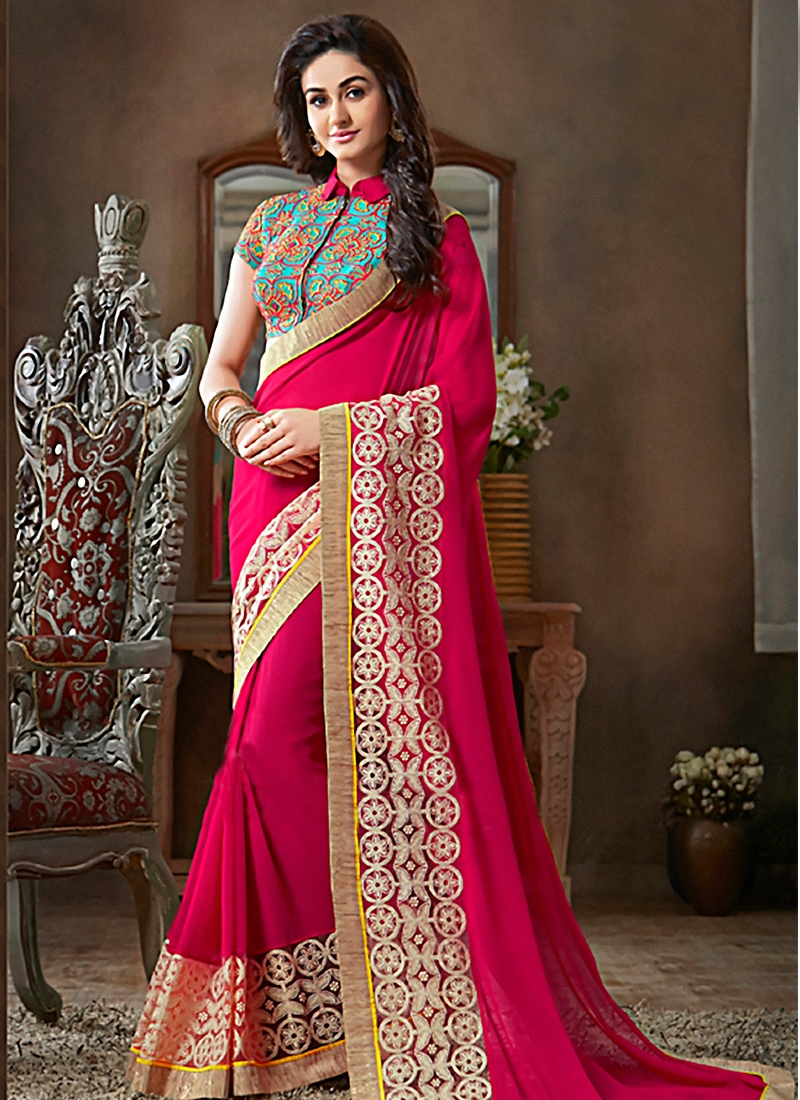 Genius Rose Pink Color Party Wear Saree