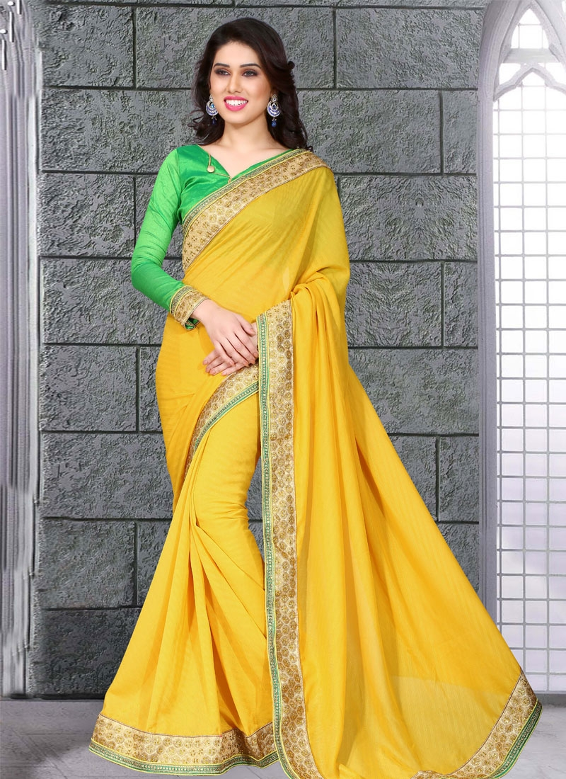 Genius Stone Work Yellow Color Party Wear Saree