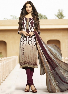 Geometric Print Work Churidar Salwar Kameez For Festival