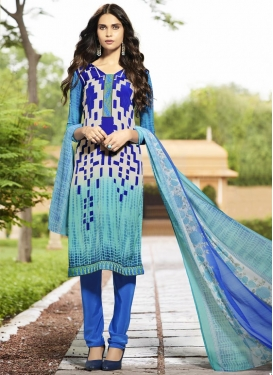 Geometric Print Work Crepe Silk Aqua Blue and Blue Trendy Churidar Salwar Suit