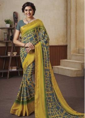 Geometric Print Work Grey and Yellow Trendy Saree