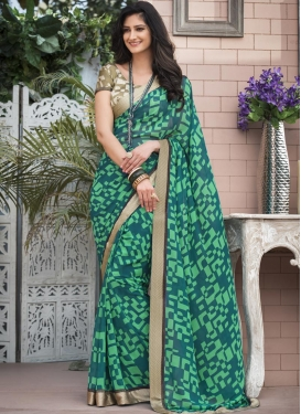 Geometric Print Work Traditional Saree